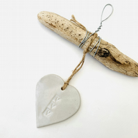 Driftwood, Loveheart hanger, pottery, gift idea, birthday, clay, handmade