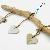 Driftwood, Loveheart hanger, pottery, gift idea, birthday, UK,
