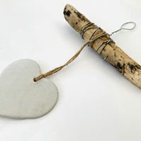 Bespoke driftwood, Loveheart hanger, home decor, gift idea, pottery,ceramics