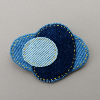 Recycled Denim Brooch - Abstract, Stacked Shapes