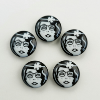 5 x 23mm Black & White Flapper Girl Buttons - Glasses Variation