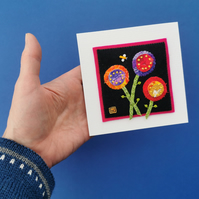 Colourful Blooms - Textile Applique Picture