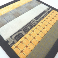 Mini Mug Quilt - Patchwork Coaster in Grey and Yellow Stripes