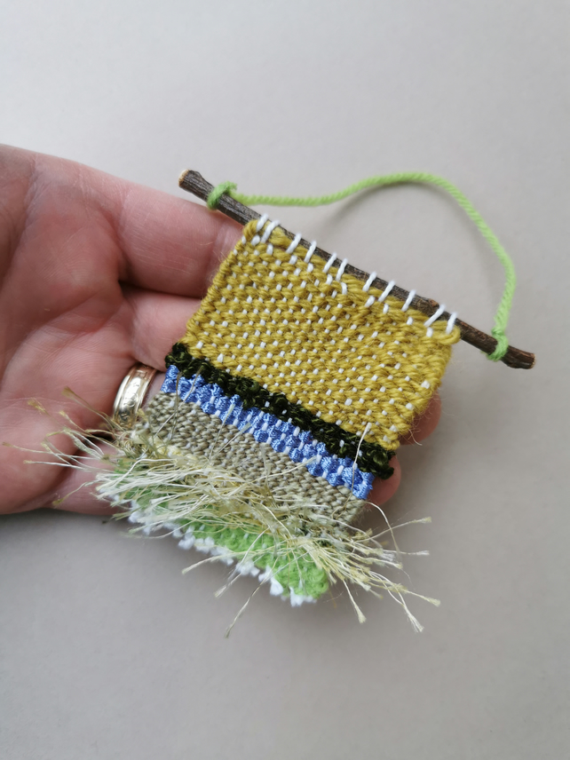 Miniature Weaving - tiny, woven wall hanging