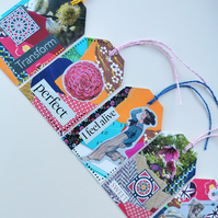 Collage Gift Tags, incorporating recycled elements - mini artworks