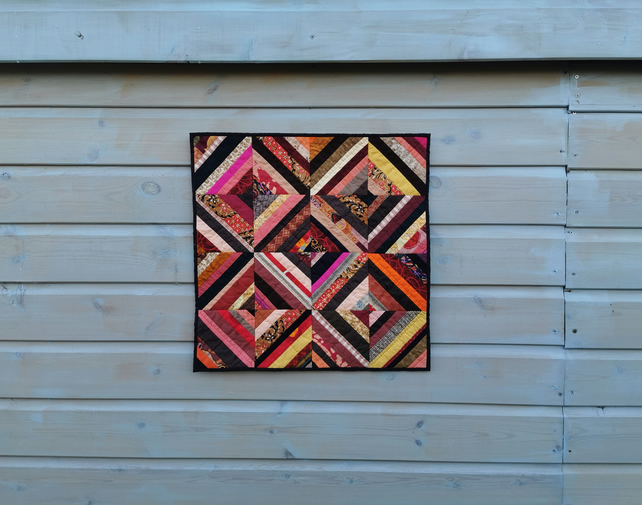 """Tiger's Eye"" - Patchwork Art Quilt - Wall Hanging"