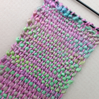 Miniature Weaving - tiny, woven brooch or pin in pink and green