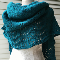 Unique Hand Knitted Crescent Lace Shawl in Teal Soft Yarn
