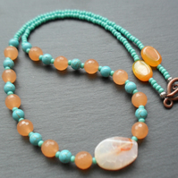 Orange Agate and Turquoise Coloured Stone Beaded Necklace