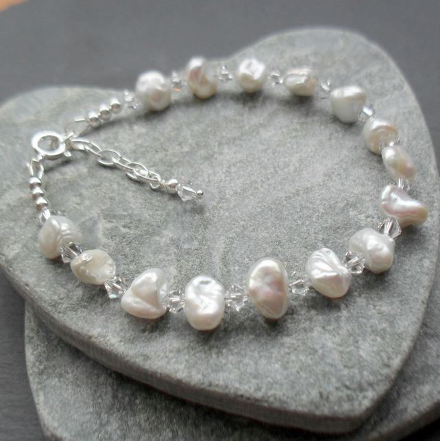 Keshi Pearl Bracelet Sterling Silver With Swarovski® Elements