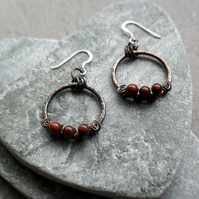 Oxidised Copper Hoops Mahogany Obsidian Sterling Silver  Dangle Earrings