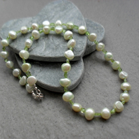 Green Freshwater Pearls and Peridot Necklace August Birthstone Sterling Silver
