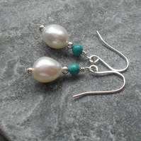 Freshwater Cultured Pearl  and Turquoise Sterling Silver Drop Earrings