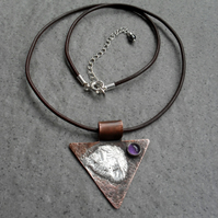 Vintage Style Copper With Sterling Silver and Amethyst Pendant