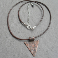 Oxidised Copper pendant With Leather Cord or Sterling Silver chain Vintage Style