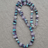 Amethyst and amazonite Beaded Necklace Sterling Silver