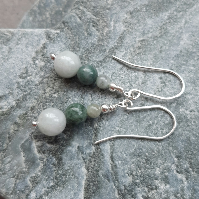 Argentium Silver With Jadeite  Earrings
