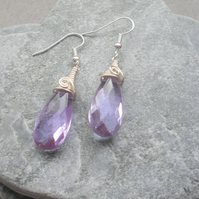 Lilac Crystal Wire Wrapped Drop Earrings