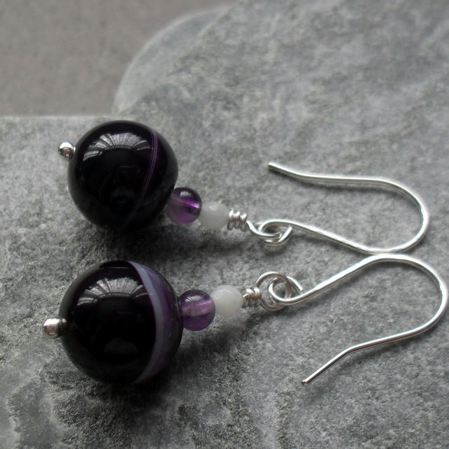 Argentium Silver With Agate Amethyst and Amazonite Earrings