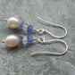 Argentium Silver Freshwater Cultured Pearl Tanzanite and Blue Topaz Earrings