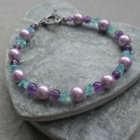 Shell Pearl Amethyst and apatite Beaded Bracelet Antique Silver Plate