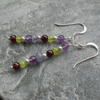 Sterling Silver Peridot Garnet Amethyst and Tanzanite Drop Earrings