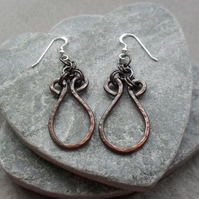 Copper Drop Earrings Vintage Style