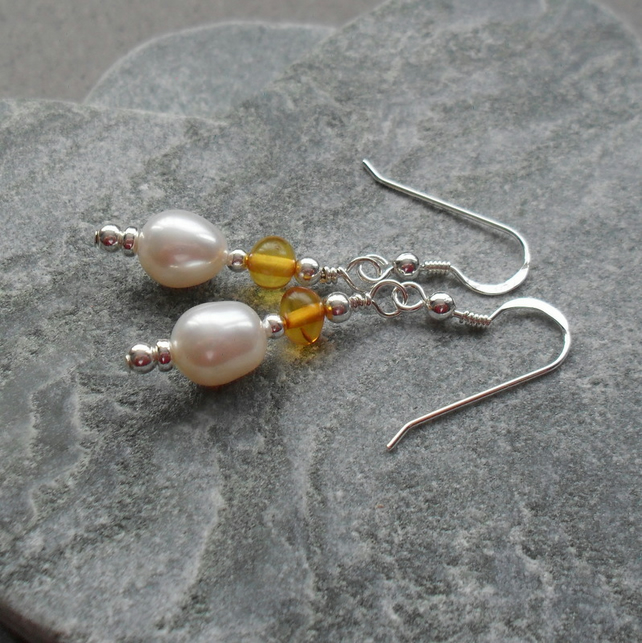 Sterling Silver Freshwater Pearls with Baltic Amber Drop Earrings