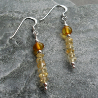 Citrine and Baltic Amber Sterling Silver Earrings November Birthstone