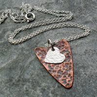 Copper With Silver Heart Pendant and Sterling Silver Chain Vintage