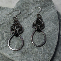 Copper Drop Earrings Vintage Style With Black Agate