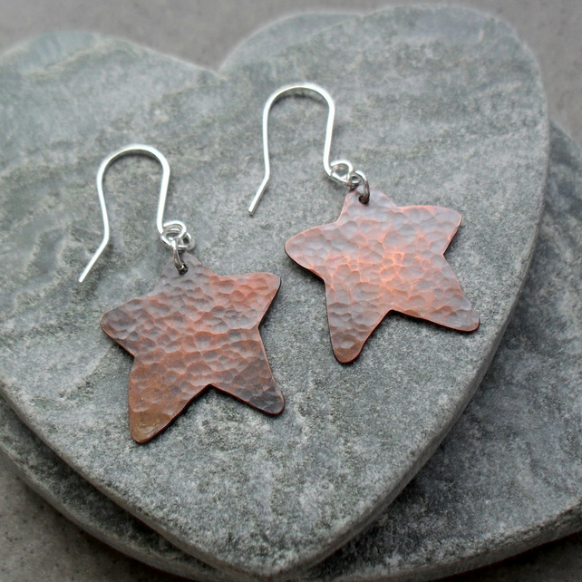 Star Shaped Oxidised Copper Earrings With Sterling Silver Ear Wires