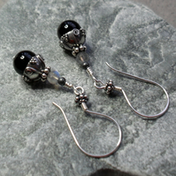 Bali Sterling Silver Black Onyx and Labradorite Drop Earrings