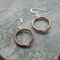 Oxidised Copper Hoops and Sterling Silver Earrings Dangle Earrings