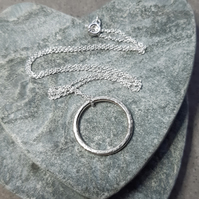 Sterling Silver Large Circle Pendant With Sterling Silver Chain