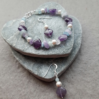 Amethyst Aquamarine and Shell Pearl Sterling Silver Bracelet and Earrings
