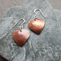 Copper Oxidised  Heart Earrings Dangle Earrings With Sterling Silver Ear Wires