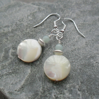 Mother Of Pearl And Amazonite Silver Plated  Shell Earrings