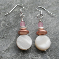 Cream Mother Of Pearl Haematite And Pink Quartz Silver Plated Shell Earrings