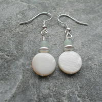 Cream Mother Of Pearl And Amazonite Silver Plated Shell Earrings