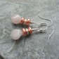 Rose Quartz and Coated Haematite Silver Plated  Earrings