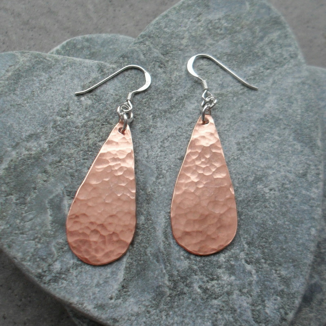Drop Copper Earrings With Sterling Silver Ear Wires