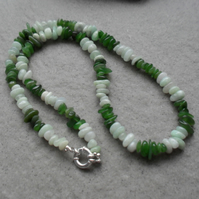 Burmese Jadeite and Nephrite Sterling Silver Necklace