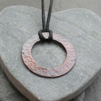 Oxidised Copper pendant With Black Waxed Cord Vintage