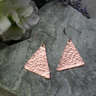 Copper  Drop Earrings Sterling Silver Ear Wires