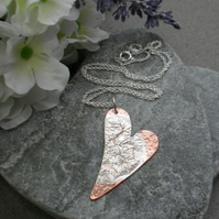 Copper and Silver Heart Pendant With Sterling Silver Chain