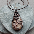 Copper Wire Wrapped Cappuccino Coloured Agate Pendant With Cord