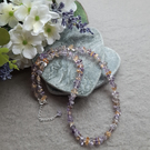 Amethyst and Citrine Semi Precious Gemstone Beaded Necklace