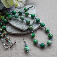 Variscite Aventurine and sodalite  Beaded Necklace and Earring Set