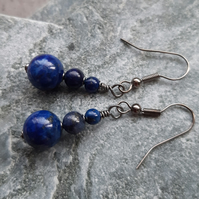 Lapis Lazuli Black Tone Drop Earrings Dangle Earrings